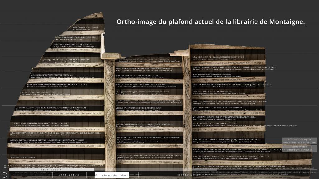 Ortho-image du plafond (état actuel) - Restitution 3D du plafond de la librairie de Montaigne