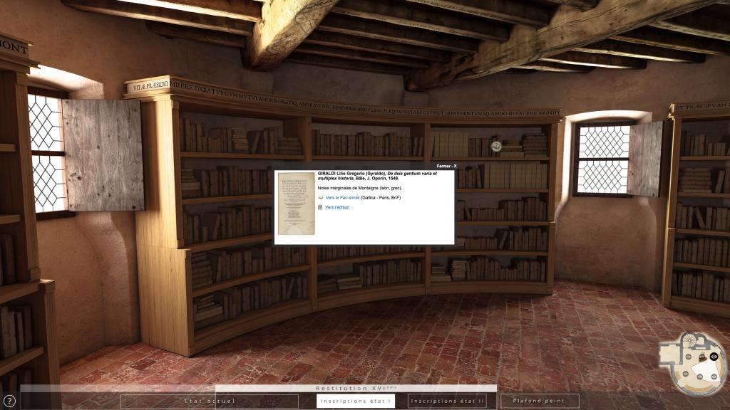 Restitution 3D de la « librairie » de Montaigne au XVI<sup>e</sup> siècle