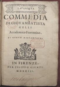 Gelli: BnF: page de titre (1593): photo AL-BVH
