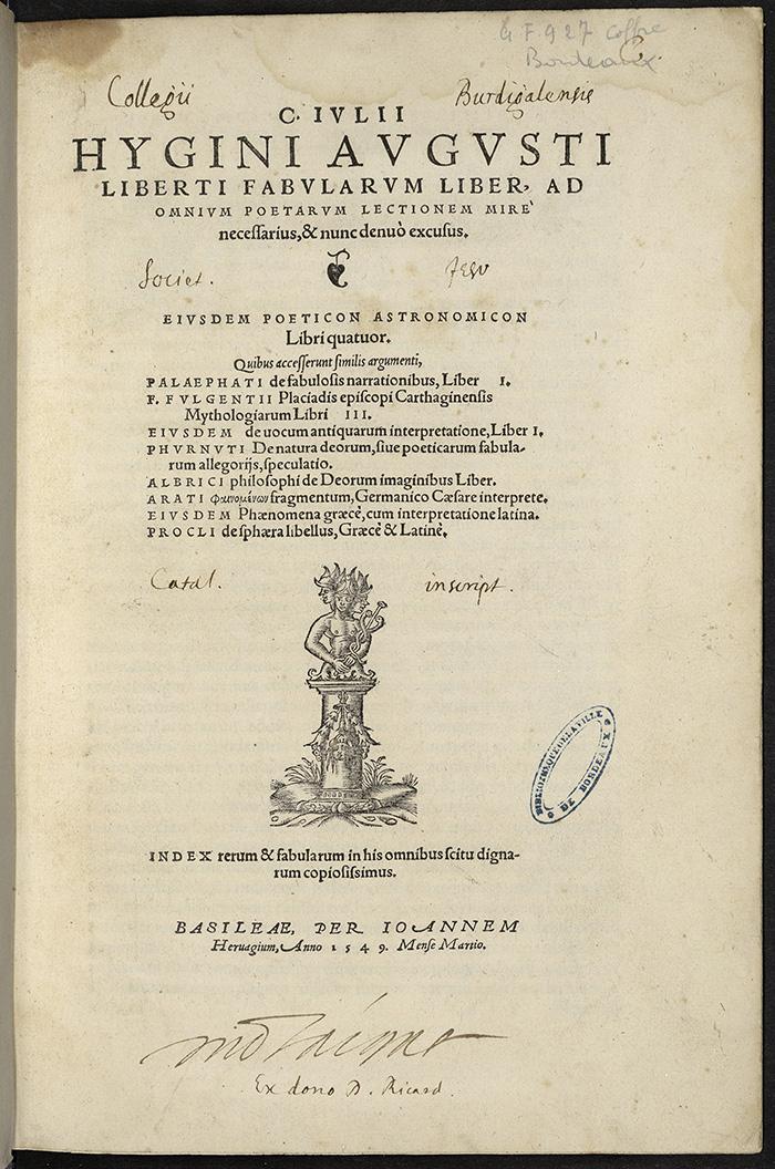 Hygin ; Fabularum liber, Bâle, J. Herwagen, 1549