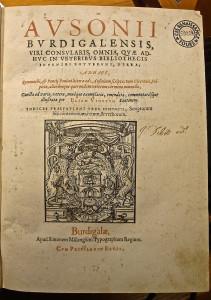 Ausone éd. Vinet 1575 conservé au CESR (SR-3D-17)