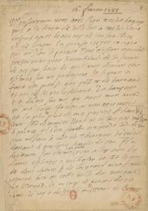 Original recto, BNF, Département des manuscrits, NAF 1068, f.1.