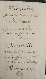 RS 1561-62 (titre), Archives municipales de Bordeaux. Photo A. Legros.